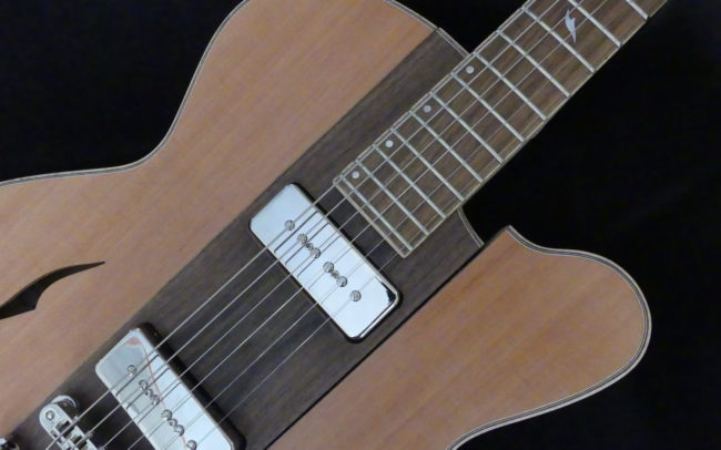 Osiris, Guitare Voyageuse et Modulaire - réalisée par Hervé BERARDET Artisan Luthier, atelier Guitare et Création - plan avant décroché noyer et côtés poirier
