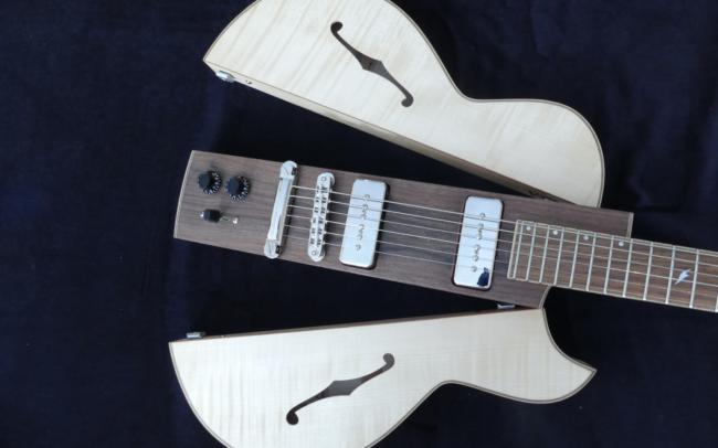 Osiris, Guitare Voyageuse et Modulaire - réalisée par Hervé BERARDET Artisan Luthier, atelier Guitare et Création - centre noyer et côtés érable ouverts