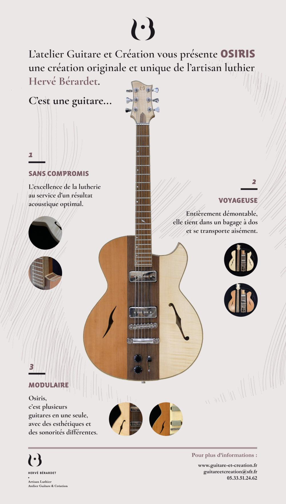 Guitare Osiris, Guitare Voyageuse et Modulaire - réalisée par Hervé BERARDET Maître Artisan Luthier, atelier Guitare et Création © 2020 / Hervé BERARDET Maître Artisan Luthier - Kakemono