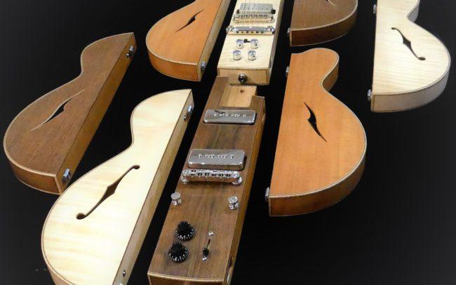 Guitare Osiris, Guitare Voyageuse et Modulaire - réalisée par Hervé BERARDET Maître Artisan Luthier, atelier Guitare et Création - © 2020 / Hervé BERARDET Maître Artisan Luthier - Envol 2
