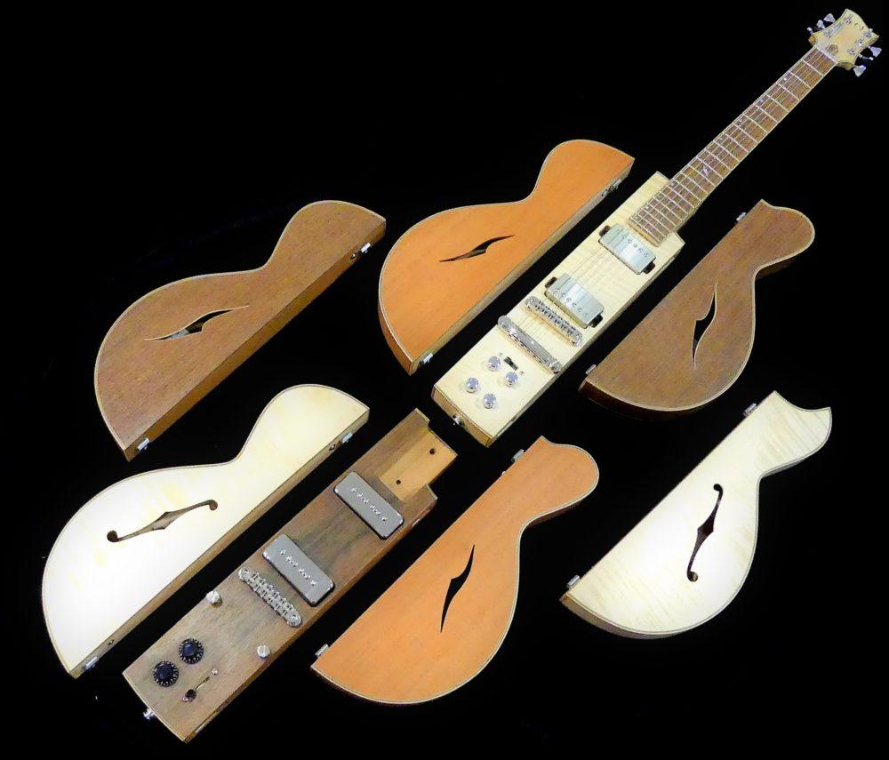 Guitare Osiris, Guitare Voyageuse et Modulaire - réalisée par Hervé BERARDET Maître Artisan Luthier, atelier Guitare et Création - © 2020 / Hervé BERARDET Maître Artisan Luthier - Envol 3