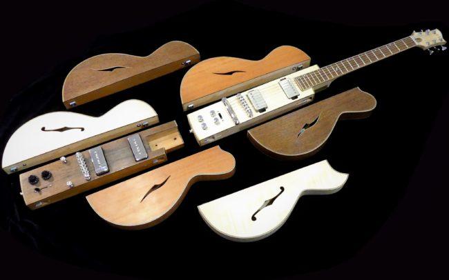 Guitare Osiris, Guitare Voyageuse et Modulaire - réalisée par Hervé BERARDET Maître Artisan Luthier, atelier Guitare et Création - © 2020 / Hervé BERARDET Maître Artisan Luthier - Envol