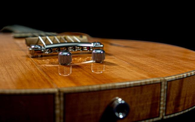 Guitare Osiris, Guitare Voyageuse et Modulaire - réalisée par Hervé BERARDET Maître Artisan Luthier, atelier Guitare et Création - @ Crédits Photos : Philippe Marzat - Centre Poirier et micro Charlie Christian 1