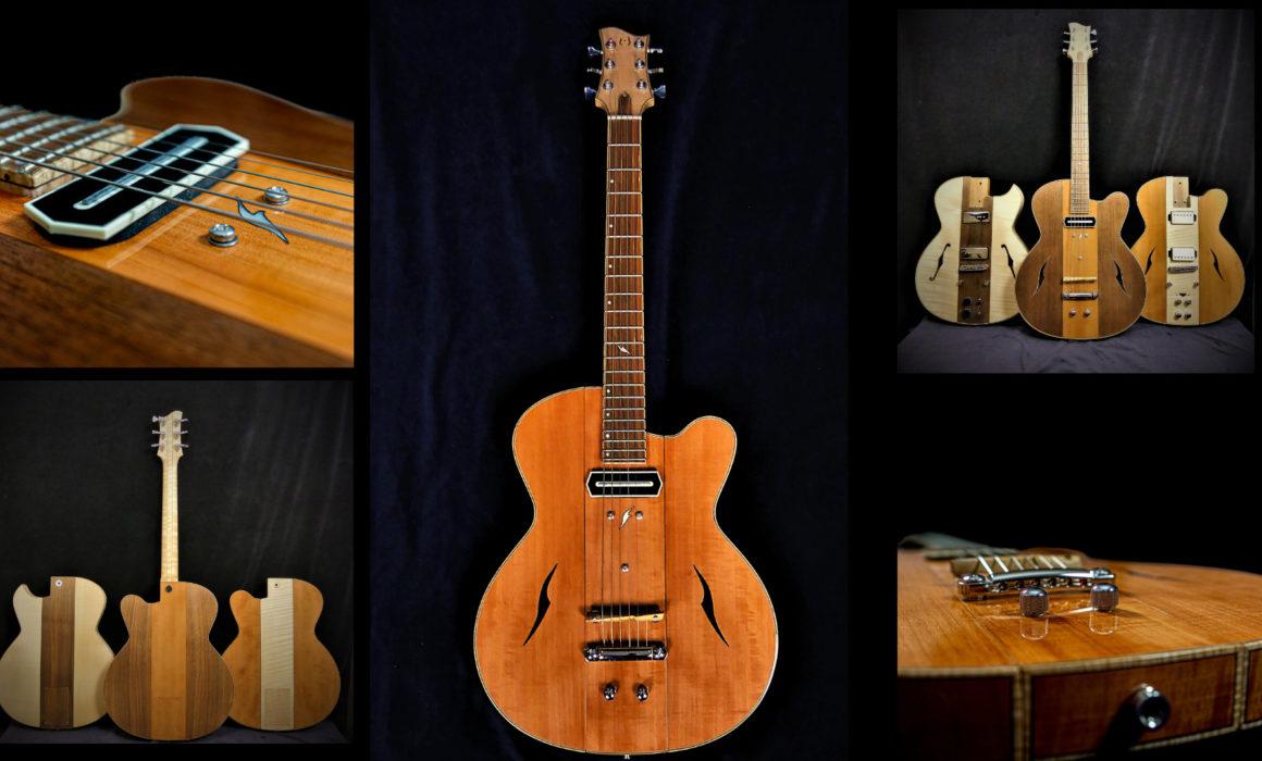 Guitare Osiris, Guitare Voyageuse et Modulaire - réalisée par Hervé BERARDET Maître Artisan Luthier, atelier Guitare et Création - Tous droits réservés - Montages Poirier