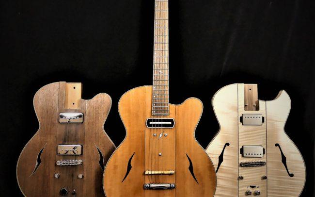 Guitare Osiris, Guitare Voyageuse et Modulaire - réalisée par Hervé BERARDET Maître Artisan Luthier, atelier Guitare et Création - Tous droits réservés - les 3 configurations - 1