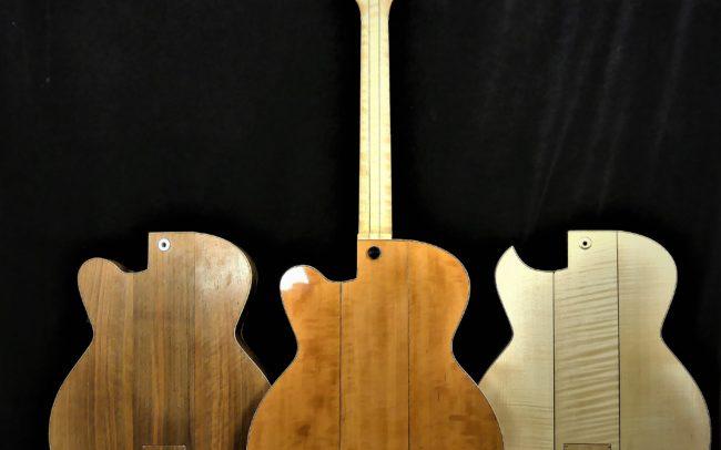 Guitare Osiris, Guitare Voyageuse et Modulaire - réalisée par Hervé BERARDET Maître Artisan Luthier, atelier Guitare et Création - Tous droits réservés - les 3 configurations - 3