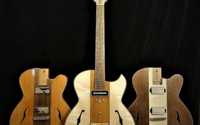 Guitare Osiris, Guitare Voyageuse et Modulaire - réalisée par Hervé BERARDET Maître Artisan Luthier, atelier Guitare et Création - Trio Osiris Centre Poirier 1