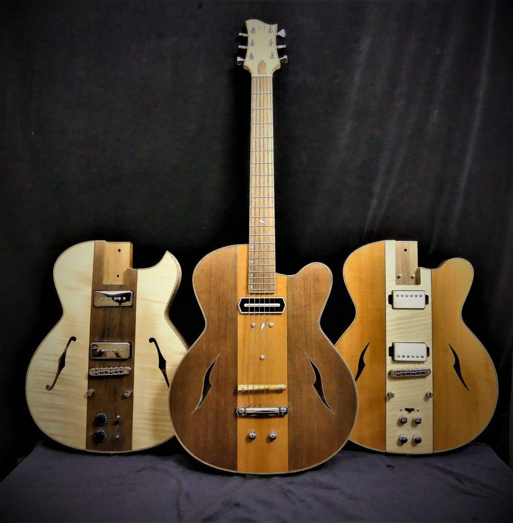 Guitare Osiris, Guitare Voyageuse et Modulaire - réalisée par Hervé BERARDET Maître Artisan Luthier, atelier Guitare et Création - Trio Osiris Centre Poirier 2