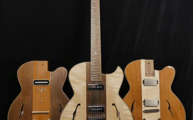 Guitare Osiris, Guitare Voyageuse et Modulaire - réalisée par Hervé BERARDET Maître Artisan Luthier, atelier Guitare et Création - Trio Osiris Centre Noyer 1