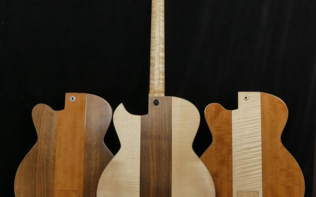 Guitare Osiris, Guitare Voyageuse et Modulaire - réalisée par Hervé BERARDET Maître Artisan Luthier, atelier Guitare et Création - Trio Osiris Centre Noyer Dos 3