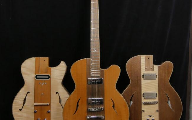 Guitare Osiris, Guitare Voyageuse et Modulaire - réalisée par Hervé BERARDET Maître Artisan Luthier, atelier Guitare et Création - Trio Osiris Centre Noyer 2