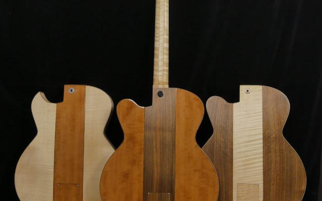 Guitare Osiris, Guitare Voyageuse et Modulaire - réalisée par Hervé BERARDET Maître Artisan Luthier, atelier Guitare et Création - Trio Osiris Centre Noyer Dos 4