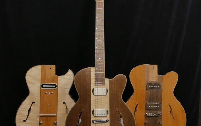 Guitare Osiris, Guitare Voyageuse et Modulaire - réalisée par Hervé BERARDET Maître Artisan Luthier, atelier Guitare et Création - Trio Osiris Centre Erable Face