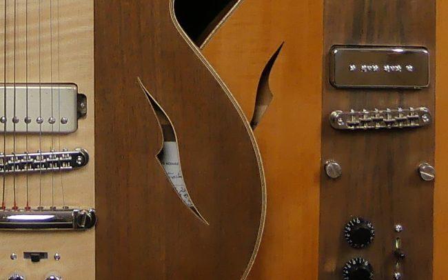 Guitare Osiris, Guitare Voyageuse et Modulaire - réalisée par Hervé BERARDET Maître Artisan Luthier, atelier Guitare et Création - Duo Osiris Centre Erable 2
