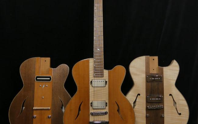 Guitare Osiris, Guitare Voyageuse et Modulaire - réalisée par Hervé BERARDET Maître Artisan Luthier, atelier Guitare et Création - Trio Osiris Centre Erable 2