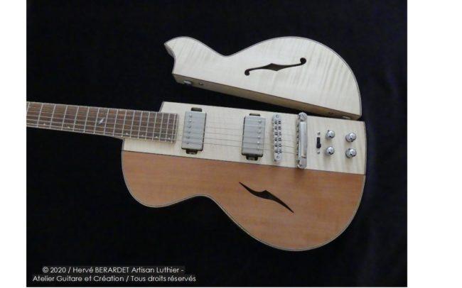 Osiris, Guitare Voyageuse et Modulaire - réalisée par Hervé BERARDET Artisan Luthier, atelier Guitare et Création - pan érable poirier