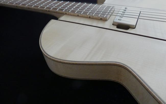 Osiris, Guitare Voyageuse et Modulaire - réalisée par Hervé BERARDET Artisan Luthier, atelier Guitare et Création - gros plan décroché