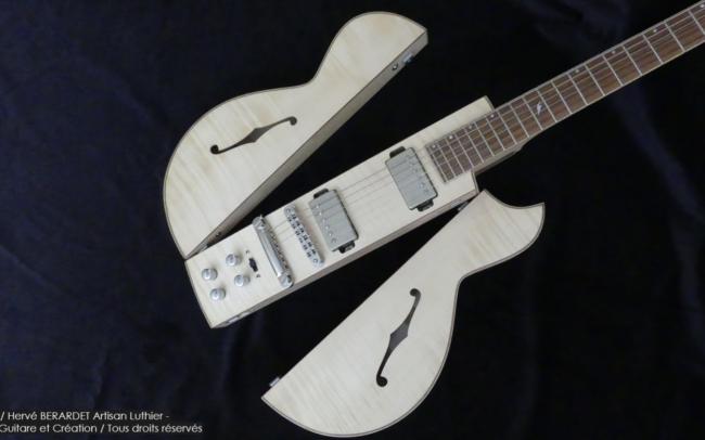 Osiris, Guitare Voyageuse et Modulaire - réalisée par Hervé BERARDET Artisan Luthier, atelier Guitare et Création - corps décroché en Z